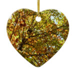 Changing Maple Tree Green and Gold Autumn Ceramic Ornament