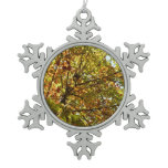Changing Maple Tree Green and Gold Autumn Snowflake Pewter Christmas Ornament