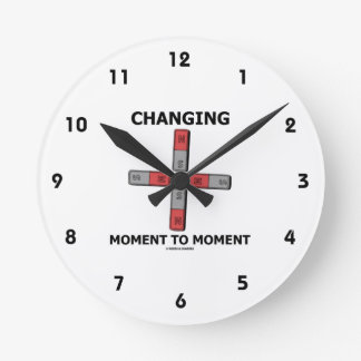 Changing Moment To Moment (Magnetism Humor) Round Clock