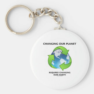 Changing Our Planet Requires Changing Our Habits Basic Round Button Keychain