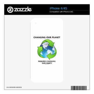 Changing Our Planet Requires Changing Our Habits Decal For iPhone 4