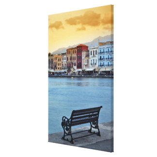 Chania at dusk, Chania, Crete, Greece Gallery Wrapped Canvas