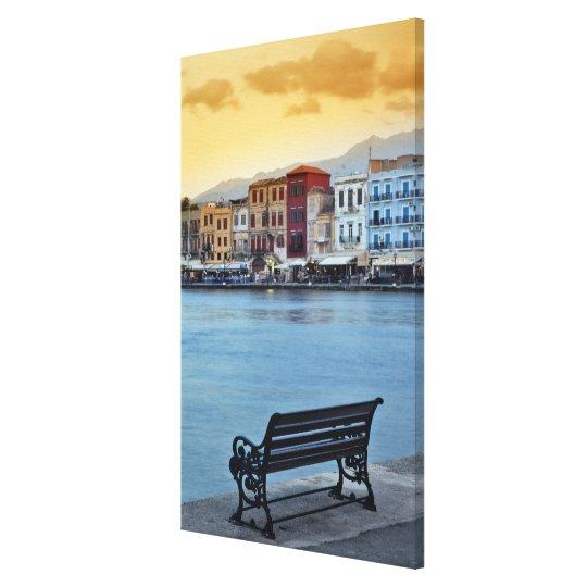 Chania at dusk, Chania, Crete, Greece Canvas Print