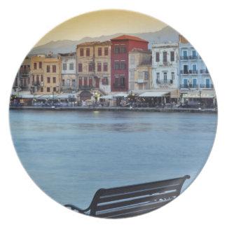 Chania at dusk, Chania, Crete, Greece Dinner Plate