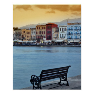 Chania at dusk, Chania, Crete, Greece Poster