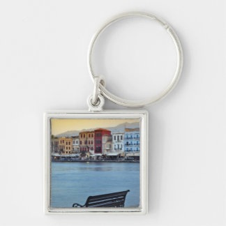 Chania at dusk, Chania, Crete, Greece Silver-Colored Square Keychain