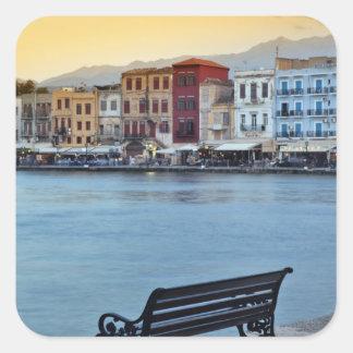 Chania at dusk, Chania, Crete, Greece Square Sticker