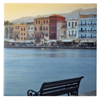 Chania at dusk, Chania, Crete, Greece Tile