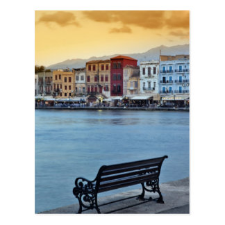 Chania en la oscuridad, Chania, Creta, Grecia Tarjeta Postal