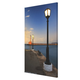 Chania Harbor and Venetian lighthouse at sunset Canvas Prints