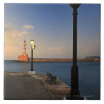 Chania Harbor and Venetian lighthouse at sunset Large Square Tile