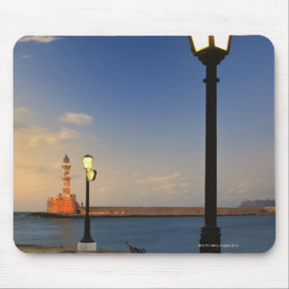 Chania Harbor and Venetian lighthouse at sunset Mouse Pad