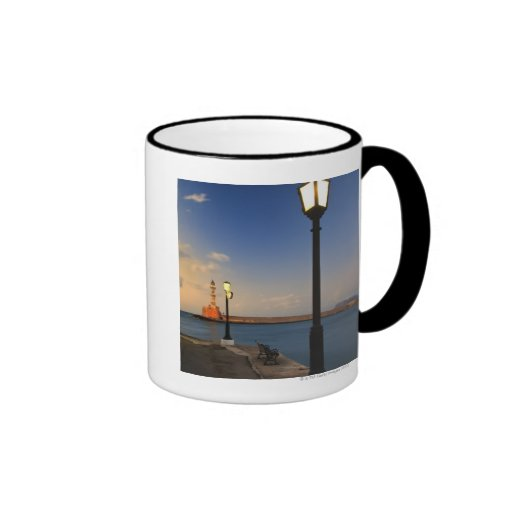 Chania Harbor and Venetian lighthouse at sunset Mugs