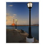 Chania Harbor and Venetian lighthouse at sunset Print