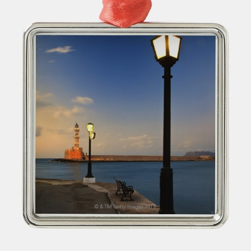 Chania Harbor and Venetian lighthouse at sunset Square Metal Christmas Ornament
