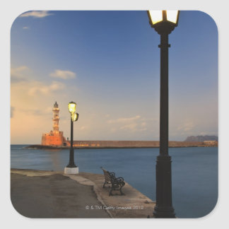 Chania Harbor and Venetian lighthouse at sunset Square Sticker