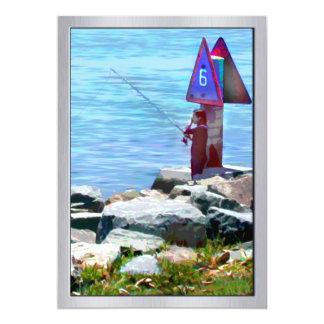 Channel Fishing Near the Harbor 5x7 Paper Invitation Card