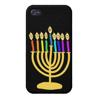Channukah feliz Menora/Chanukia iPhone 4 Funda
