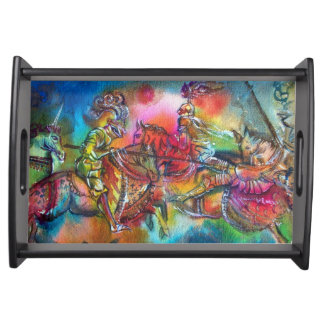CHANSON DE ROLAND/ COMBAT OF KNIGHTS IN TOURNMENT SERVING TRAY