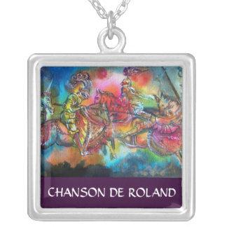CHANSON DE ROLAND/ COMBAT OF KNIGHTS IN TOURNMENT SQUARE PENDANT NECKLACE