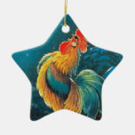 chanticleer at dawn Double-Sided star ceramic christmas ornament