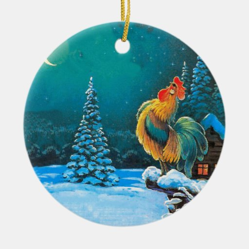 chanticleer at dawn Double-Sided ceramic round christmas ornament