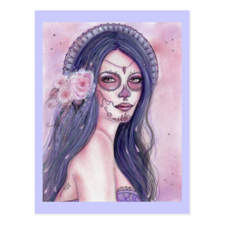 Chantilly rose day of the dead postcard by Renee