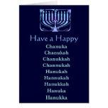 Chanuka feliz tarjeta de felicitación