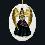 """Chanukah Angel Ceramic Ornament<br><div class=""""desc"""">Original art by Thedustyphoenix.</div>"""