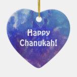 Chanukah Aqua Purple Painting Heart Ornament