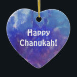 """Chanukah Aqua Purple Painting Heart Ornament<br><div class=""""desc"""">This heart ornament has a painting of an abstract composition with aqua,  blue,  white and purple and the expression: """"Happy Chanukah!"""" It is a great holiday decoration item for your room and a nice gift for your love ones.</div>"""