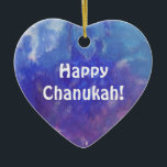 "Chanukah Aqua Purple Painting Heart Ornament<br><div class=""desc"">This heart ornament has a painting of an abstract composition with aqua,  blue,  white and purple and the expression: ""Happy Chanukah!"" It is a great holiday decoration item for your room and a nice gift for your love ones.</div>"