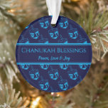 """CHANUKAH BLESSINGS Customized Dreidel Blue Cyan Ornament<br><div class=""""desc"""">Stylish, elegant ornament for your HANUKKAH decor. Design shows a cyan dreidel print in a tiled pattern with customizable placeholder text which you can replace with your own choice of greeting and text. The color scheme is midnight blue and cyan. Other versions are available. Matching items can be found in...</div>"""
