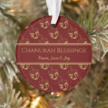 """CHANUKAH BLESSINGS Customized Dreidel Burgundy Ornament<br><div class=""""desc"""">Stylish, elegant ornament for your HANUKKAH decor. Design shows a gold-colored dreidel print in a tiled pattern with customizable placeholder text which you can replace with your own choice of greeting and text. The color scheme is burgundy and gold. Other versions are available. Matching items can be found in the...</div>"""