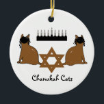 "Chanukah Cats Ornament<br><div class=""desc"">PRLimages is a division of Paintings by Rachel Lowry.</div>"