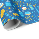 """Chanukah Celebrating Gelt Jewish Stars Snowflakes Wrapping Paper<br><div class=""""desc"""">Add some holiday color and sparkle with this fun Chanukah wrapping paper design. Appropriate for children or adults, corporate or family gift wrap needs. There are coordinating gift bags, tissue paper, and ribbon for a complete Chanukah look, or you can mix and match with our other Chanukah wrapping paper patterns....</div>"""