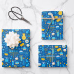 """Chanukah Celebrating Gelt Jewish Stars Snowflakes Wrapping Paper Sheets<br><div class=""""desc"""">Sometimes you just have a few items to wrap for Chanukah, and you don't want to buy a huge roll of Chanukah wrapping paper that will linger in your closet for years. This selection of three Chanukah wrapping paper sheets is perfect for wrapping a few gifts. Three separate sheets of...</div>"""
