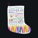 """Chanukah Collage and Rainbow Stars Small Christmas Stocking<br><div class=""""desc"""">Just in case you need a Chanukah stocking...  Here&#39;s one filled with symbols and holiday-related words. Personalize.</div>"""