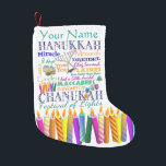 "Chanukah Collage and Rainbow Stars Small Christmas Stocking<br><div class=""desc"">Just in case you need a Chanukah stocking...  Here's one filled with symbols and holiday-related words. Personalize.</div>"
