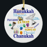 """Chanukah Collage/Light the Lights Ceramic Ornament<br><div class=""""desc"""">Chanukah ornament features symbols and words for the holiday. Back reads: Light the Lights.</div>"""