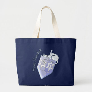 Chanukah Dreidel Cat (customizable) Large Tote Bag
