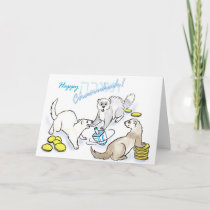 Chanukah dreidel ferrets holiday card