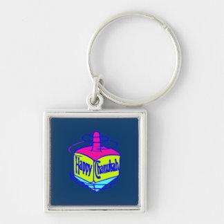 Chanukah Dreidel Silver-Colored Square Keychain