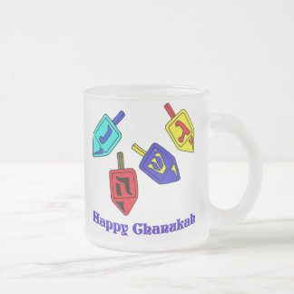 Chanukah Dreidels Frosted Glass Coffee Mug