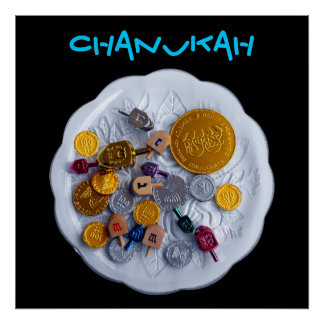 CHANUKAH! - Dreidels & Gelt Poster