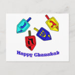 """Chanukah Dreidels Postcard<br><div class=""""desc"""">A Happy Chanukah gift featuring 4 dreidels with Hebrew letters which represent A Great Miracle Happened There!</div>"""