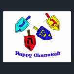 "Chanukah Dreidels Postcard<br><div class=""desc"">A Happy Chanukah gift featuring 4 dreidels with Hebrew letters which represent A Great Miracle Happened There!</div>"