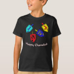 "Chanukah Dreidels T-Shirt<br><div class=""desc"">A Happy Chanukah gift featuring 4 dreidels with Hebrew letters which represent A Great Miracle Happened There!</div>"