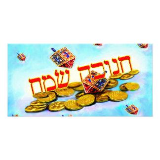 Chanukah feliz en hebreo tarjeta con foto personalizada