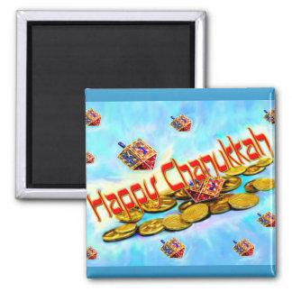 Chanukah Flying Dreidels 2 Inch Square Magnet